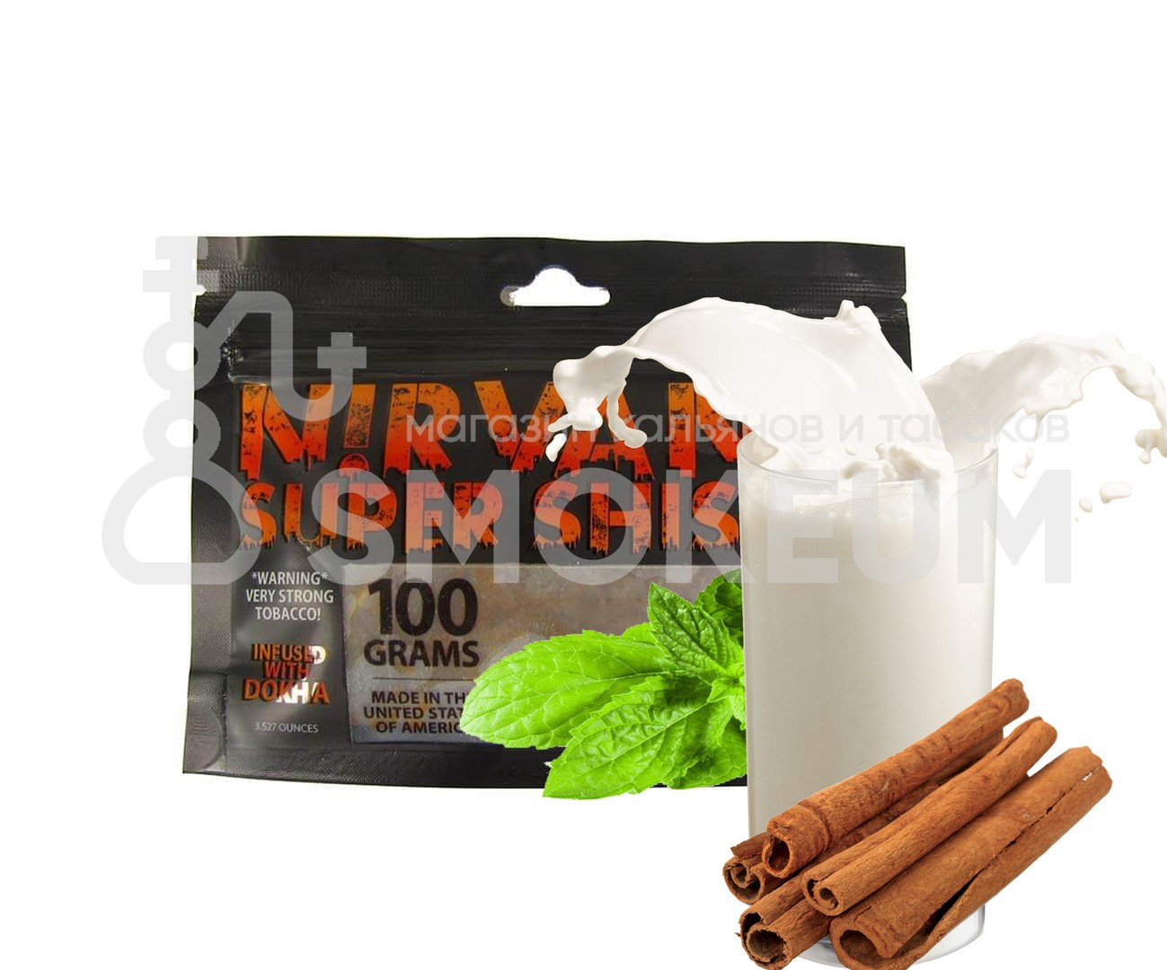 Табак Nirvana - Mint Cinnamon Milk (Молоко с корицей и мятой) 100 гр